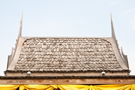decore: Wood roof of Thai style house, Thailand.