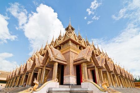 Thai style golden castle, U-thaithani province, Thailand. photo