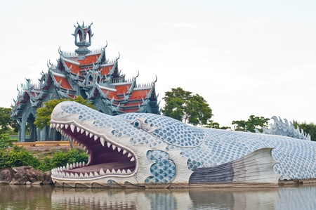The Anondha fish statue in water, Thailand. Stock Photo - 10455400
