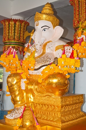 White ganesha statue in the temple, Thailand. photo