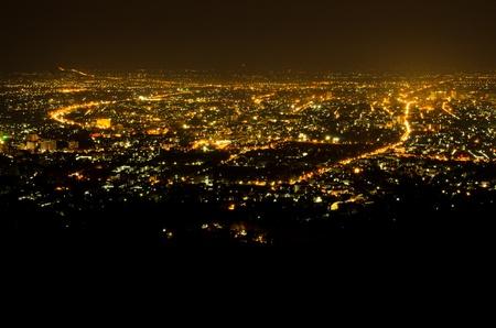 Bird eye view bovenstaande Chiengmai stad in nacht, Thailand. Stockfoto