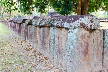 Laterite wall in historical park, Kamphaengphet province, Thailand. photo