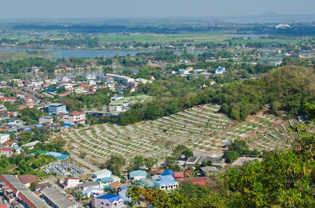 Bird view of Nakhonsawan city, Thailand. photo