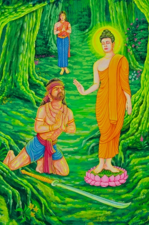 Buddha and Angulimala robber in drawing on the wall, Thailand.