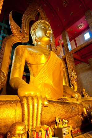 Beautiful golden buddha at Wat Tonson, Angthong province, Thailand