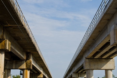 bridge construction: Double bridges with blue sky, Thailand.