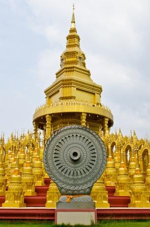 Dhammajak molding art at Wat Pasawangboon temple, Thailand.