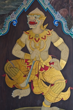 Hanuman drawing on public wall, Thailand