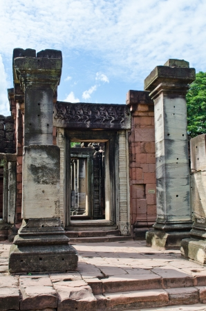 Construction work of Arched Gateways and Kamphaeng Kaew at Phimai Historical Park, Thailand