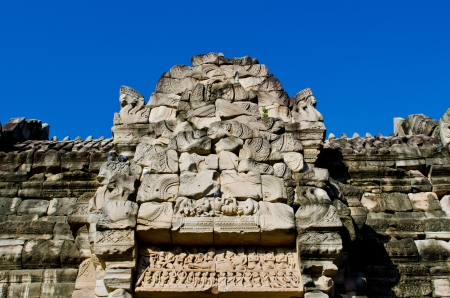 Carving Work on Door Frame at Phimai Historical Park, Thailand. photo