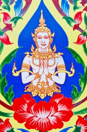 Background of Thai style art at Watthanonhakyai temple, Thailand.