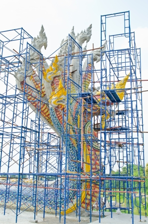 Head of Naga under construction, Thailand  photo