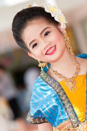 Portrait of the Thai beautiful girl in Thai traditional suit, Thailand. Stock Photo