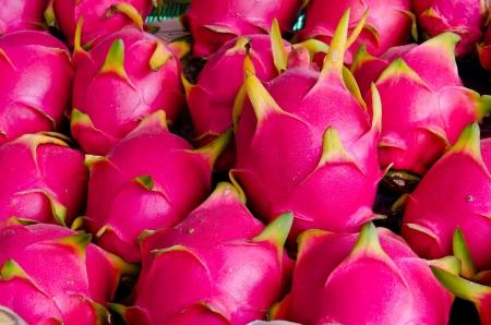 Dragon fruit on market stand, Thailand. Stock Photo