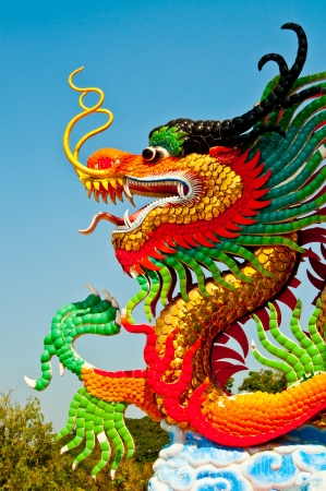 Colorful dragon statue with blue sky at public park, Thailand. photo