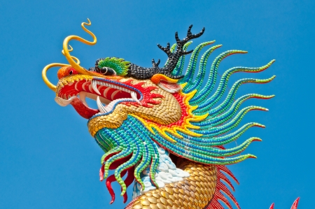 Colorful dragon statue with blue sky at public park, Thailand  photo