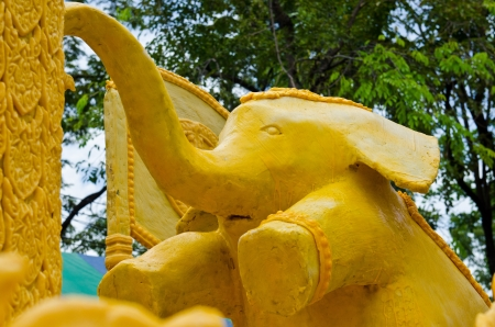 Elephant made from candle in candle festival, Thailand  Stock Photo - 16946037