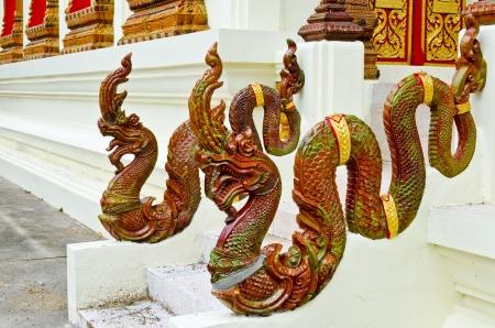 hand rail: Naga stair hand rail at Thai temple, Thailand.