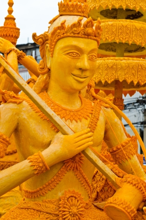 Thai style carving art made from candle in candle festival, Thailand. Stock Photo - 16964066