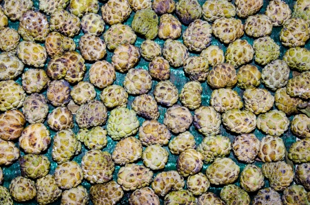 custard apple: Group of custard apple at the market, Thailand.