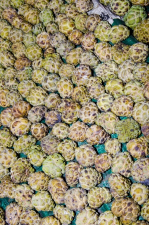 Group of custard apple at the market, Thailand.