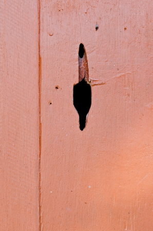 Brown wooden wall with black hole, Thailand. photo