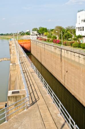 sluice: Sluice gate of Chao Phraya dam, Thailand.