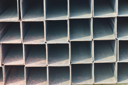 Group of square tube steel, Thailand. photo
