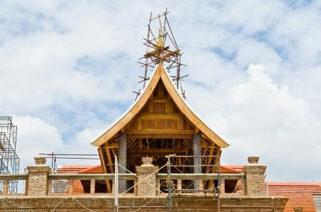 Thai style building under construction, Thailand.