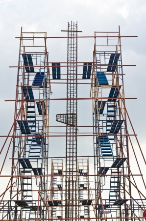 Rebar with scaffolding in construction site, Thailand  photo