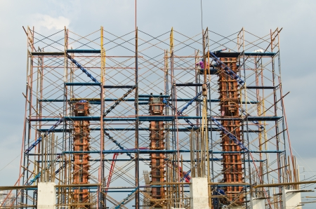 Column formwork with scaffolding in construction site, Thailand.
