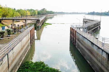 sluice: Bridge at Chaopraya dam, Thailand. Stock Photo