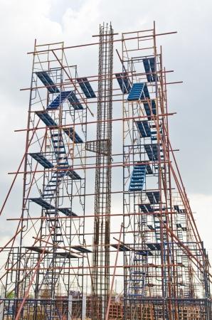 Betonacél a állványzat építkezésen, Thaiföld.