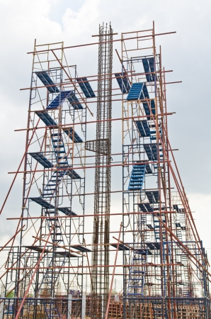 buildingsite: Rebar with scaffolding in construction site, Thailand.
