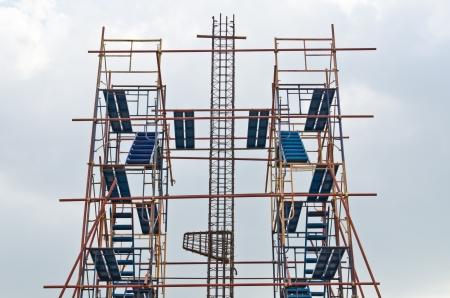 Rebar with scaffolding in construction site, Thailand. photo
