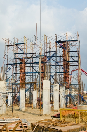 Column formwork with scaffolding in construction site, Thailand. photo