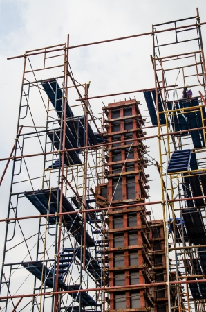 Scaffolding in construction site, Thailand. photo
