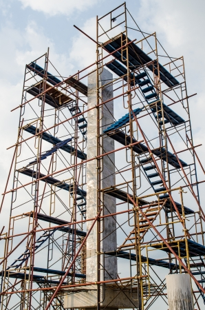 buildingsite: Scaffolding in construction site, Thailand.