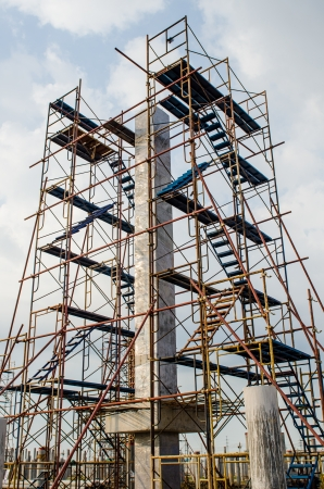 Scaffolding in construction site, Thailand.