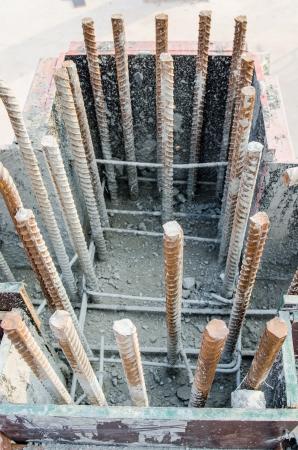 Rebar preparing  in construction site, Thailand. photo