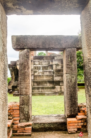Door frame of ancient Prasat Non Ku castle, Thailand. photo