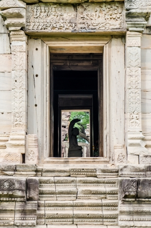 Door frame at Phimai historical park, Thailand. photo