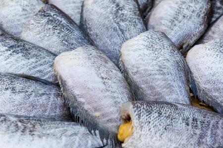 gourami: Drying snakeskin gourami fishes at the market, Thailand.
