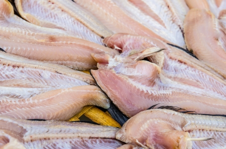 snakehead: Drying common snakehead fishes at the market, Thailand. Stock Photo