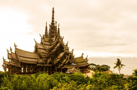 The Sanctuary of Truth (Wood Carving Castle), Thailand. photo