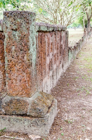 laterite: Ancient laterite wall, Thailand.