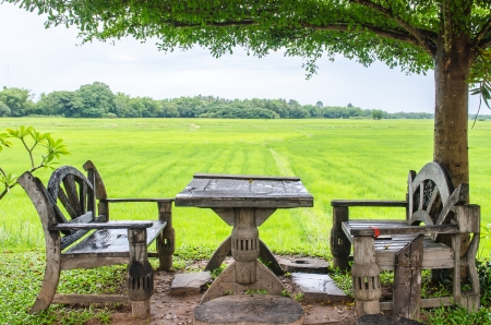 Thai style desk with rice field, Thailand. photo