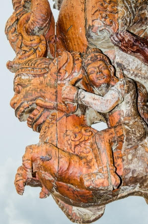 Wood Carving Art at The Sanctuary of Truth, Thailand photo