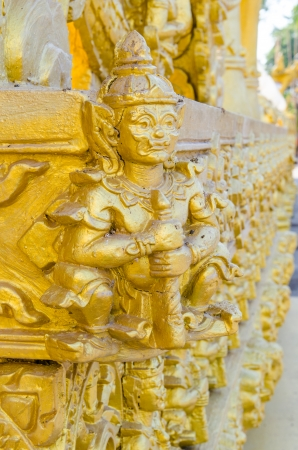 Thai style molding art at Paknamjoelo temple, Thailand photo