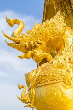 Thai style molding art at Paknamjoelo temple, Thailand photo